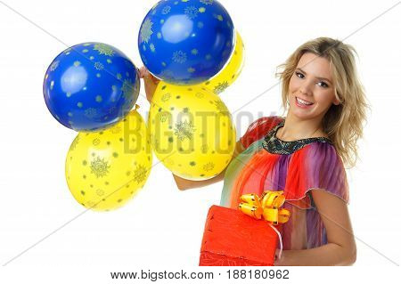 beautiful woman with colourful vivid balloons looking at you
