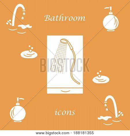 Set Of Vector Illustrations Of Variety Bathroom Elements: Faucet, Liquid Soap Dispenser, Shower.
