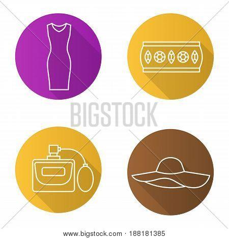Women's accessories flat linear long shadow icons set. Sleeveless evening dress, metal bracelet, hat, perfume. Vector line illustration