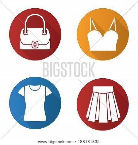 Women's accessories flat design long shadow icons set. Handbag, top, skirt, t-shirt. Vector silhouette illustration