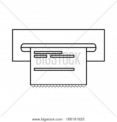 line electronic cashier bank with receipt, vector illustration design