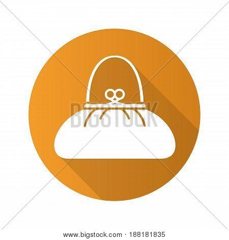 Women's purse flat design long shadow icon. Handbag. Vector silhouette symbol