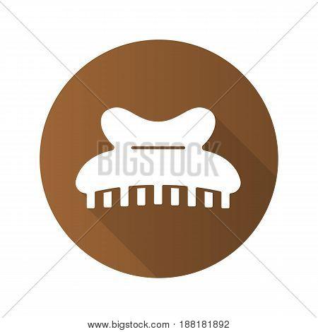 Claw hair clip flat design long shadow icon. Vector silhouette symbol