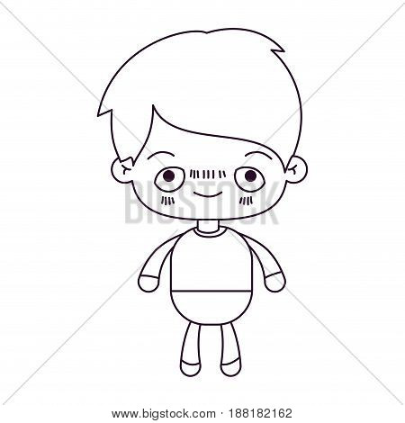 monochrome silhouette of kawaii little boy with embarrassed facial expression vector illustration