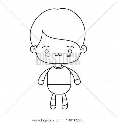 monochrome silhouette of kawaii little boy with facial expression exhausted vector illustration
