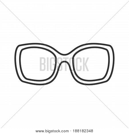 Women's sunglasses linear icon. Thin line illustration. Contour symbol. Vector isolated outline drawing