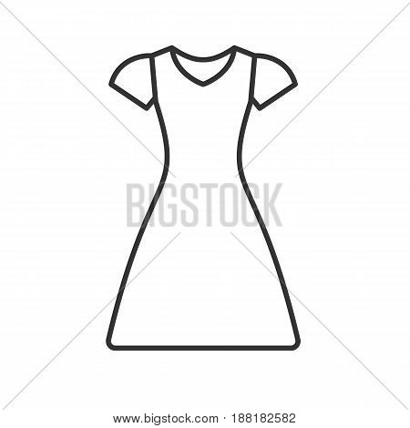 Sun frock linear icon. Thin line illustration. Dress contour symbol. Vector isolated outline drawing