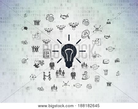 Business concept: Painted black Light Bulb icon on Digital Data Paper background with  Hand Drawn Business Icons