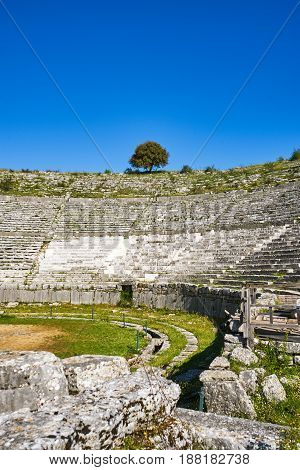 Ruins of ancient theater in Dodoni Greece