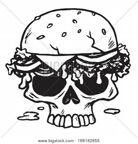 Dead Skull Burger. Fries Vector Illustration Drawing
