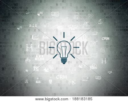 Finance concept: Painted blue Light Bulb icon on Digital Data Paper background with  Hand Drawn Business Icons