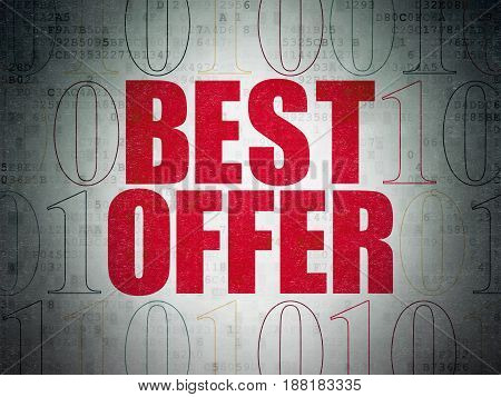 Business concept: Painted red text Best Offer on Digital Data Paper background with Binary Code