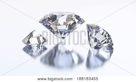 3D illustration three diamond stone on a white background