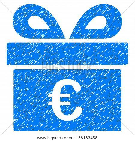 Grunge Euro Gift icon with grunge design and dust texture. Unclean vector blue pictogram for rubber seal stamp imitations and watermarks. Draft sign symbol.