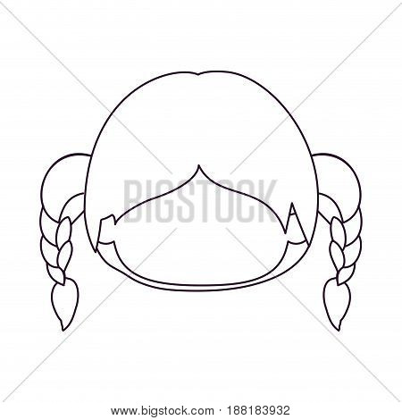 monochrome silhouette of faceless head of little girl with hair pigtails vector illustration
