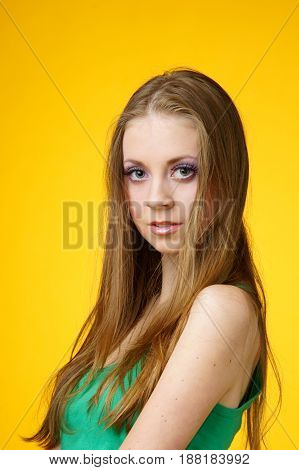 young attractive woman with big eyes looking at you