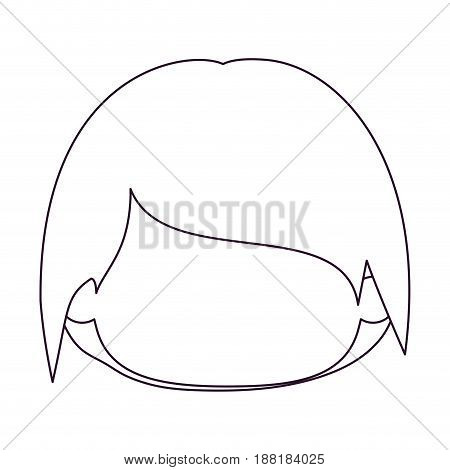 monochrome silhouette of faceless head of little kid with short hair vector illustration