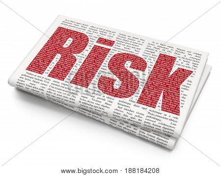 Finance concept: Pixelated red text Risk on Newspaper background, 3D rendering