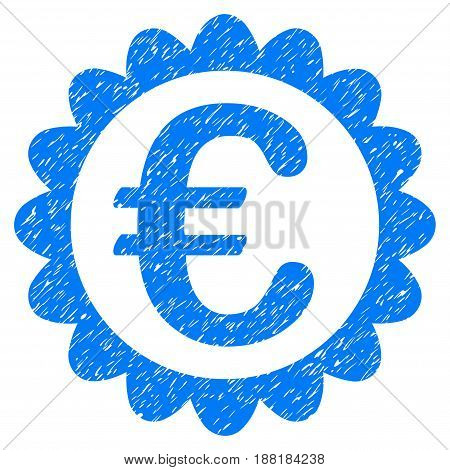 Grunge Euro Quality icon with grunge design and scratched texture. Unclean vector blue pictogram for rubber seal stamp imitations and watermarks. Draft sign symbol.
