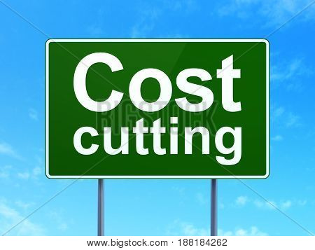 Business concept: Cost Cutting on green road highway sign, clear blue sky background, 3D rendering