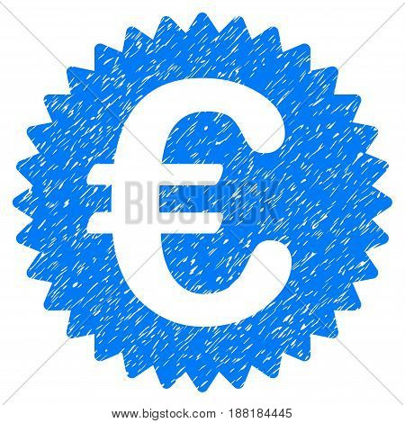 Grunge Euro Reward Seal icon with grunge design and dirty texture. Unclean vector blue pictogram for rubber seal stamp imitations and watermarks. Draft emblem symbol.