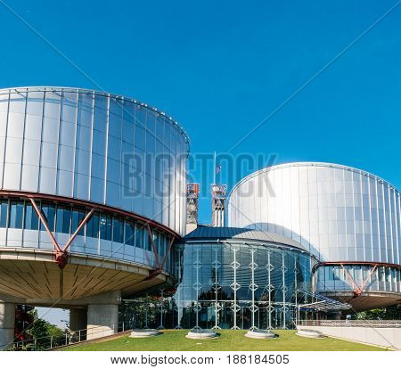 STRASBOURG FRANCE - MAY 26 2017: European Union flag fly half-mast European Court of human Rights building memory of victims terrorist explosion Manchester Arena