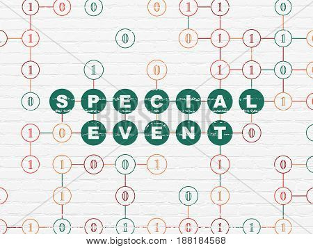 Business concept: Painted green text Special Event on White Brick wall background with Binary Code