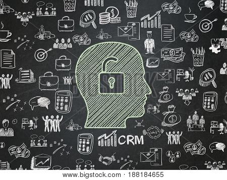 Business concept: Chalk Green Head With Padlock icon on School board background with  Hand Drawn Business Icons, School Board