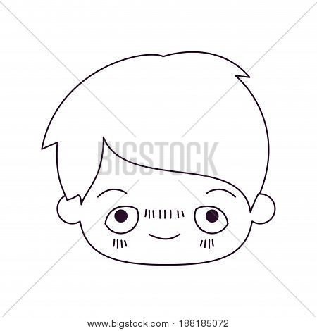 monochrome silhouette of kawaii head of little boy with embarrassed facial expression vector illustration