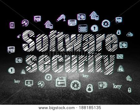 Privacy concept: Glowing text Software Security,  Hand Drawn Security Icons in grunge dark room with Dirty Floor, black background