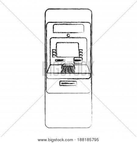 figure electronic cashier to withdraw cash money, vector illustration