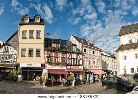 BOPPARD, GERMANY - NOVEMBER 06, 2016: Half-timbered and buildings from other historic epochs line up around the market.
