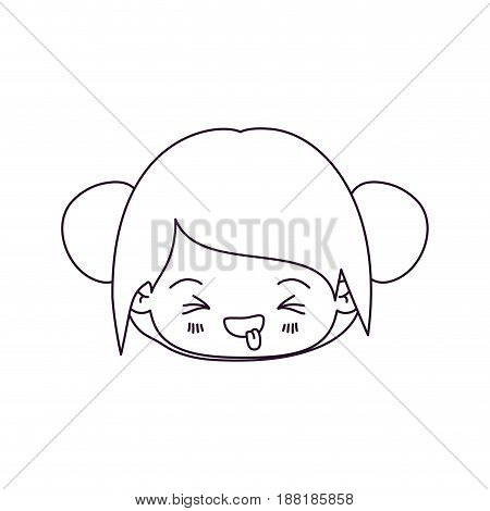 monochrome silhouette of kawaii head little girl with collected hair and facial expression unpleasant vector illustration