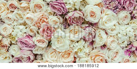 Flowers wall background with amazing red and white roses Wedding decoration hand made. Toning
