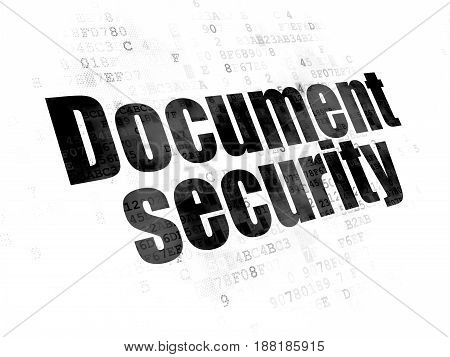 Privacy concept: Pixelated black text Document Security on Digital background