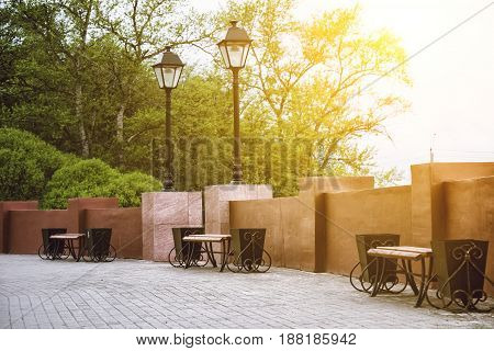 Benches for rest and back lanterns with shallow depth of field