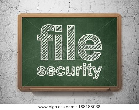Safety concept: text File Security on Green chalkboard on grunge wall background, 3D rendering