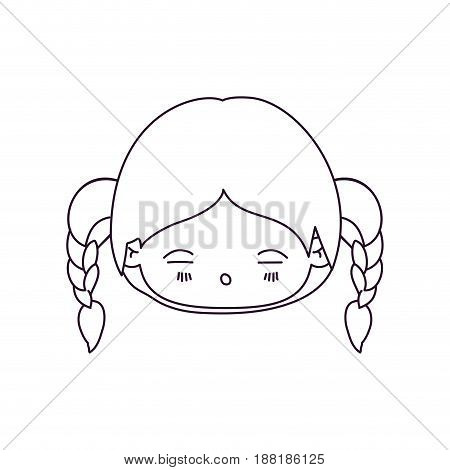 monochrome silhouette of kawaii head little girl with braided hair and facial expression tired vector illustration
