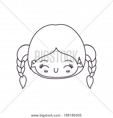 monochrome silhouette of kawaii head little girl with braided hair and facial expression happiness with closed eyes vector illustration