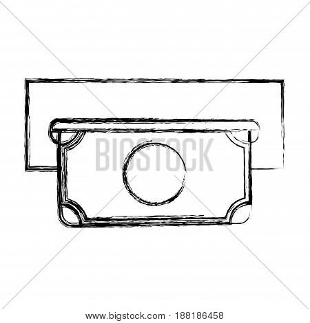 figure electronic cashier bank with bill cash money, vector illustration