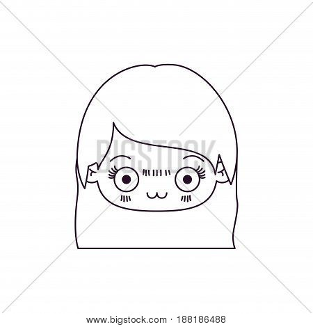 monochrome silhouette of kawaii head of cute little girl with straight hair and facial expression depressed vector illustration