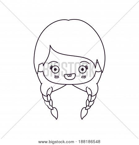 monochrome silhouette of kawaii head of cute little girl with braided hair and smiling vector illustration