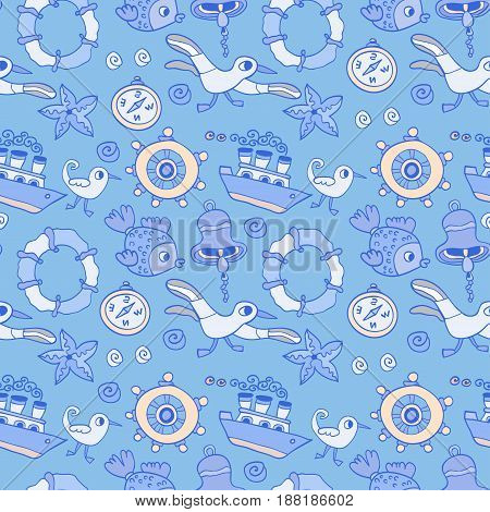 Doodle kids sea animals seamless vector pattern. Background with seagull and ship