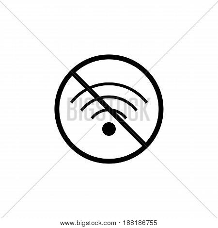 No Wifi line icon, prohibition sign, forbidden wireless network, vector graphics, a linear pattern on a white background, eps 10.