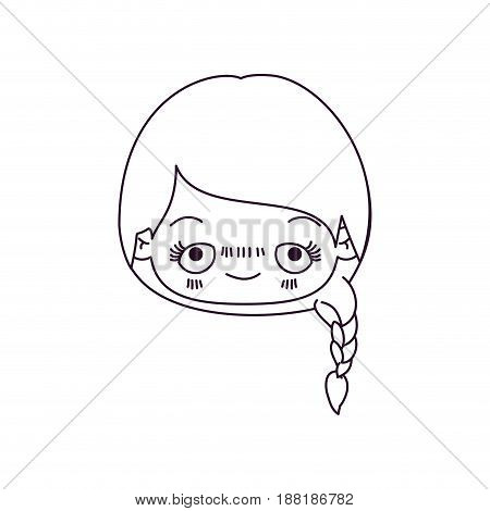 monochrome silhouette of kawaii head cute little girl with braided hair and embarrassed facial expression vector illustration