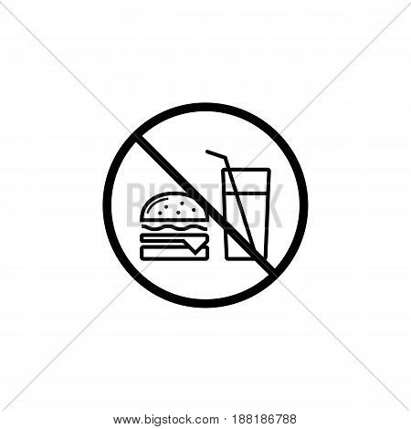 No food allowed line icon, prohibition sign, forbidden no eat, vector graphics, a linear pattern on a white background, eps 10.