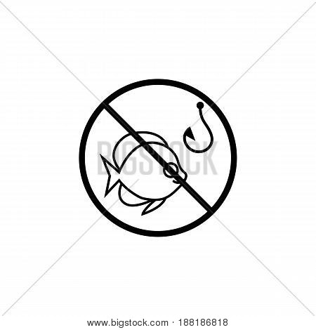 No fishing line icon, prohibition sign, forbidden, fish and hook, vector graphics, a linear pattern on a white background, eps 10.