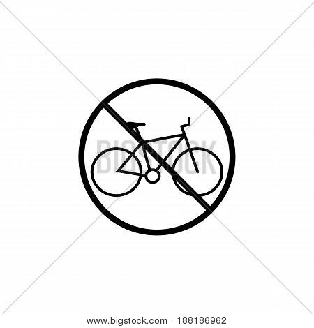 No bicycle line icon, bike prohibition sign, forbidden no transport, vector graphics, a linear pattern on a white background, eps 10.
