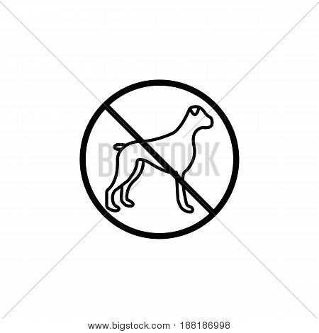No dog line icon, prohibition sign, forbidden no animal, vector graphics, a linear pattern on a white background, eps 10.