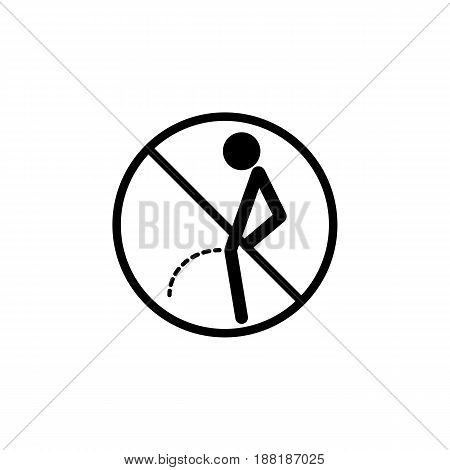 No peeing line icon, pee prohibition sign, forbidden don't pissing, vector graphics, a linear pattern on a white background, eps 10.